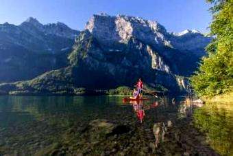 SUP Mag UK: SUP: Under mountain shadows – SUPing Swiss alpine lakes with Thomas Oschwald