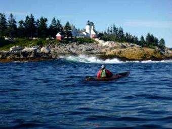 Sea Kayak Stonington: Paddlers camping at Hog Island, Muscongus Bay waiting for the storm to pass