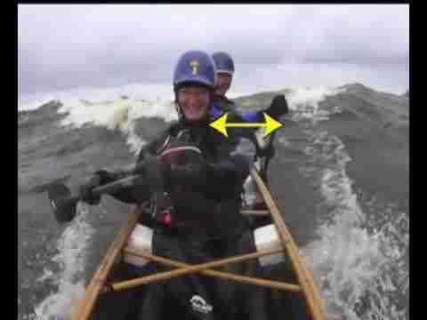 Rudder stroke for surfing